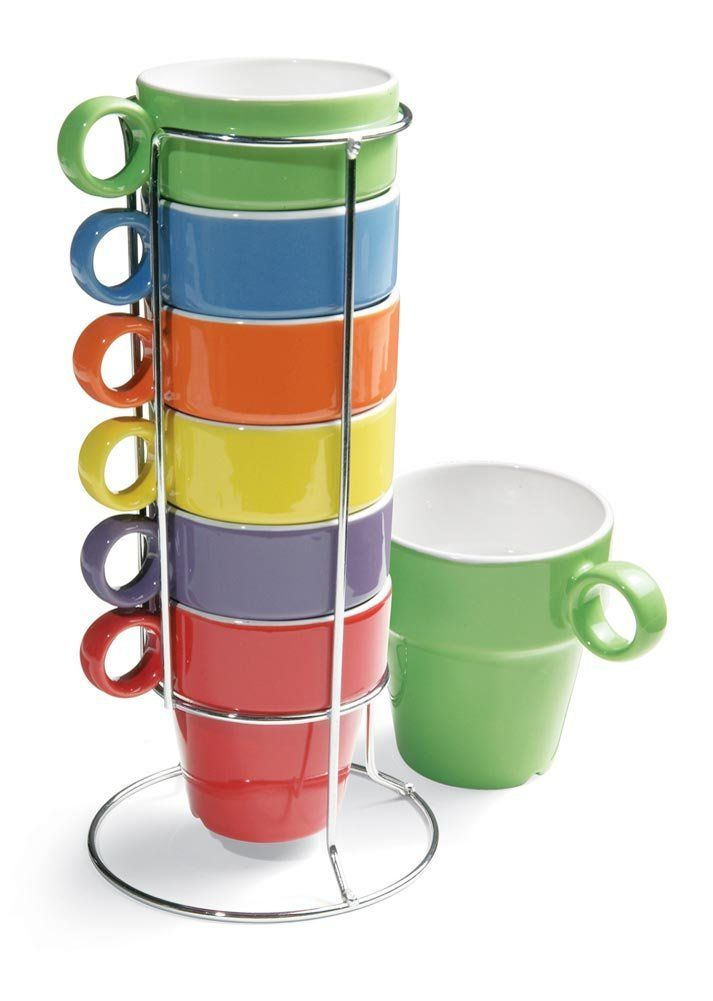Collections Etc 7 Piece Stacking Rainbow Mug Set With Stand