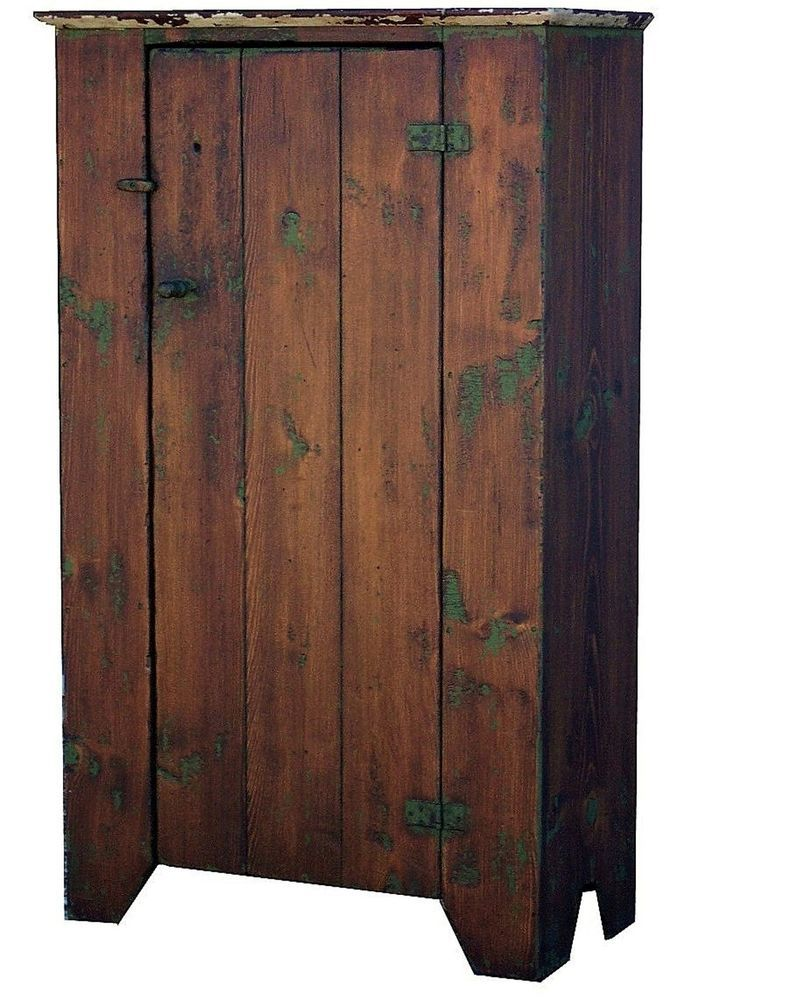 Primitive furniture - Early American Painted Country Reproduction Primitive Chimney Jelly Cupboard Naiveprimitive