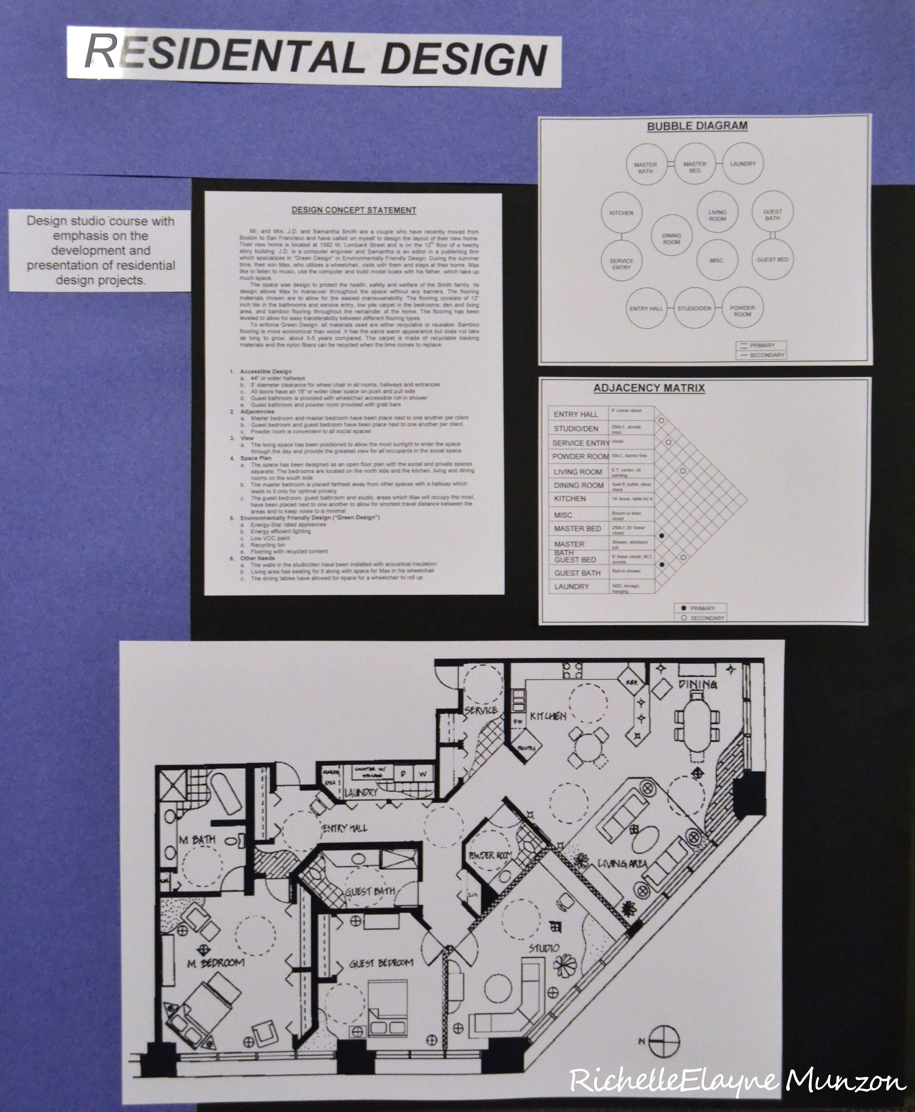 Hand Drafted Floor Plan With Design Concept Statement Bubble Diagram And Adjacency Matrix By Richelle El Interior Design Student Bubble Diagram Concept Design