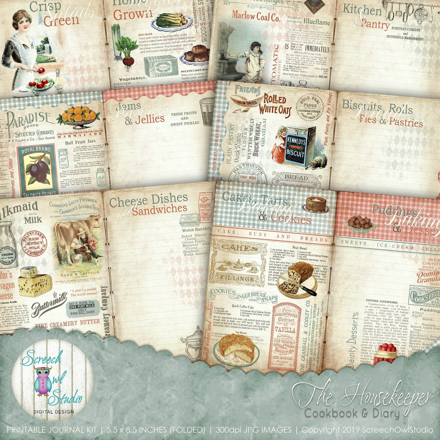 Digital Recipe Journal 5 5 X 8 5 Inch Journal Kit Cookery Book Vintage Recipe Book Recipe Cards Paper Craft Supplies The Housekeeper All Things Printable Food Journal Paper Craft Supplies Cookery Books