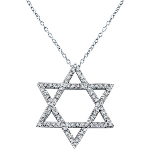 Effy Jewelry 14K White Gold Diamond Star of David Pendant, .62 TCW ($3,150) ❤ liked on Polyvore featuring jewelry, pendants, diamond, 14 karat gold pendants, 14k pendant, diamond pendant jewelry, pendant jewelry and 14k jewelry