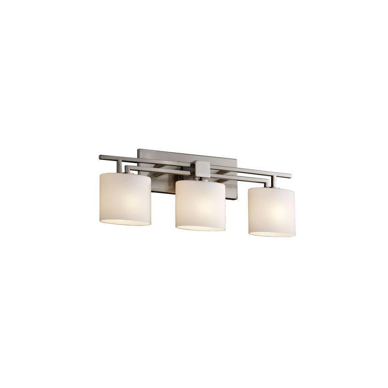 Brushed Nickel Finish Square with Flat Rim Translucent Porcelain Shade with Sawtooth Design Limoges Era 4-Light Bath Bar