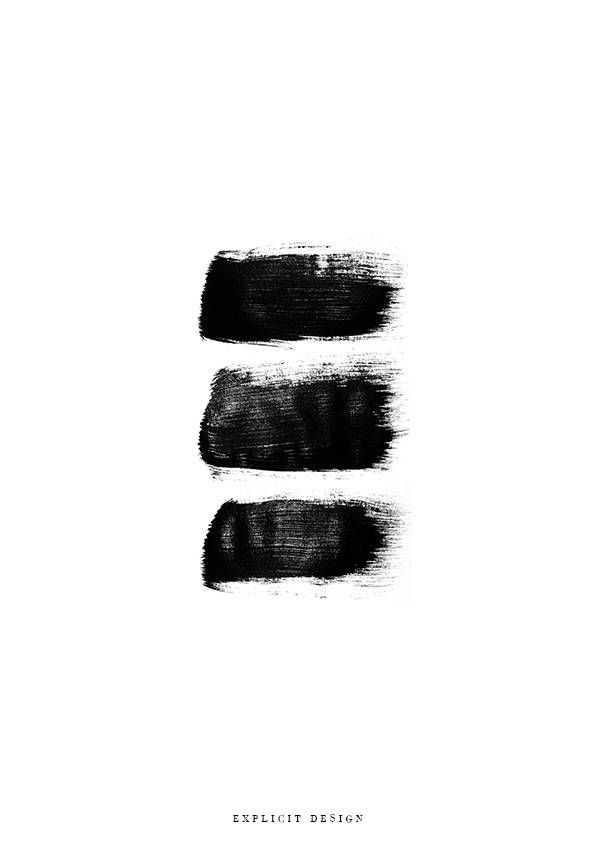 3 brush strokes print black and white abstract wall art black paint printable