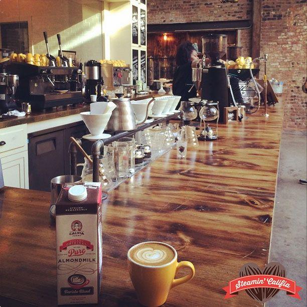 Latte art with the Califia Farms Barista Blend Almondmilk