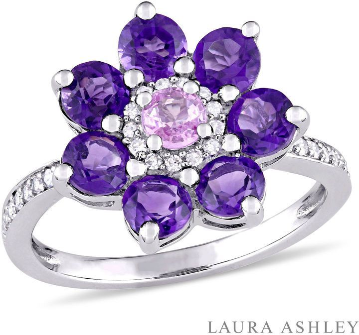 Fine Jewelry Womens Purple Amethyst Sterling Silver Cocktail Ring