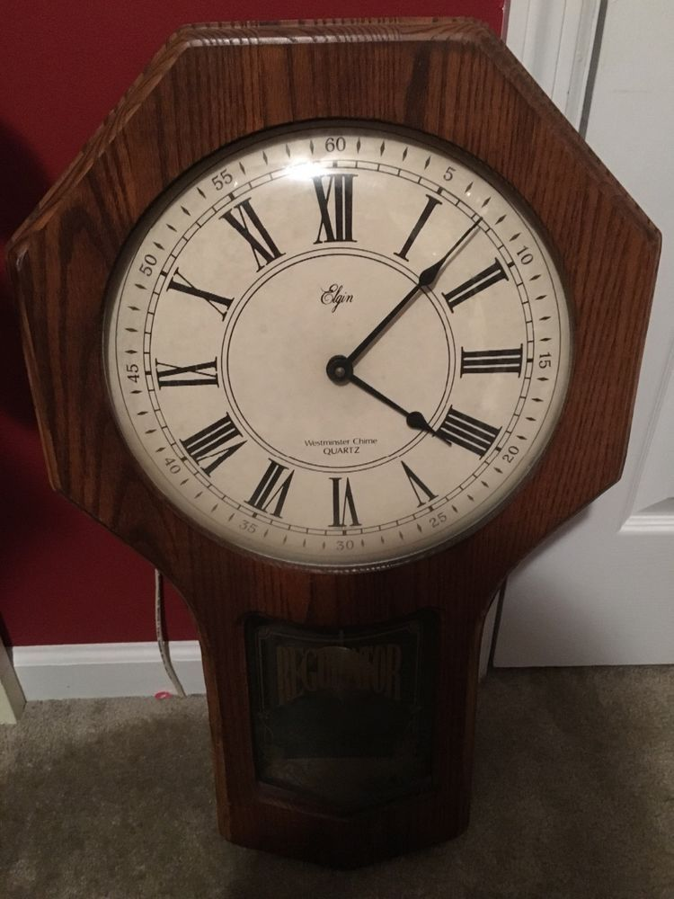 Details about Elgin Regulator Schoolhouse Wall Clock with