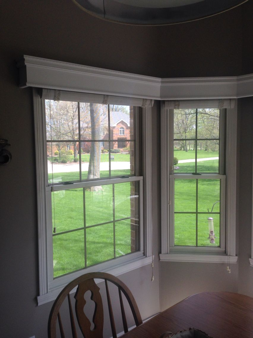 Cornice boards for bay window in kitchen nook with images