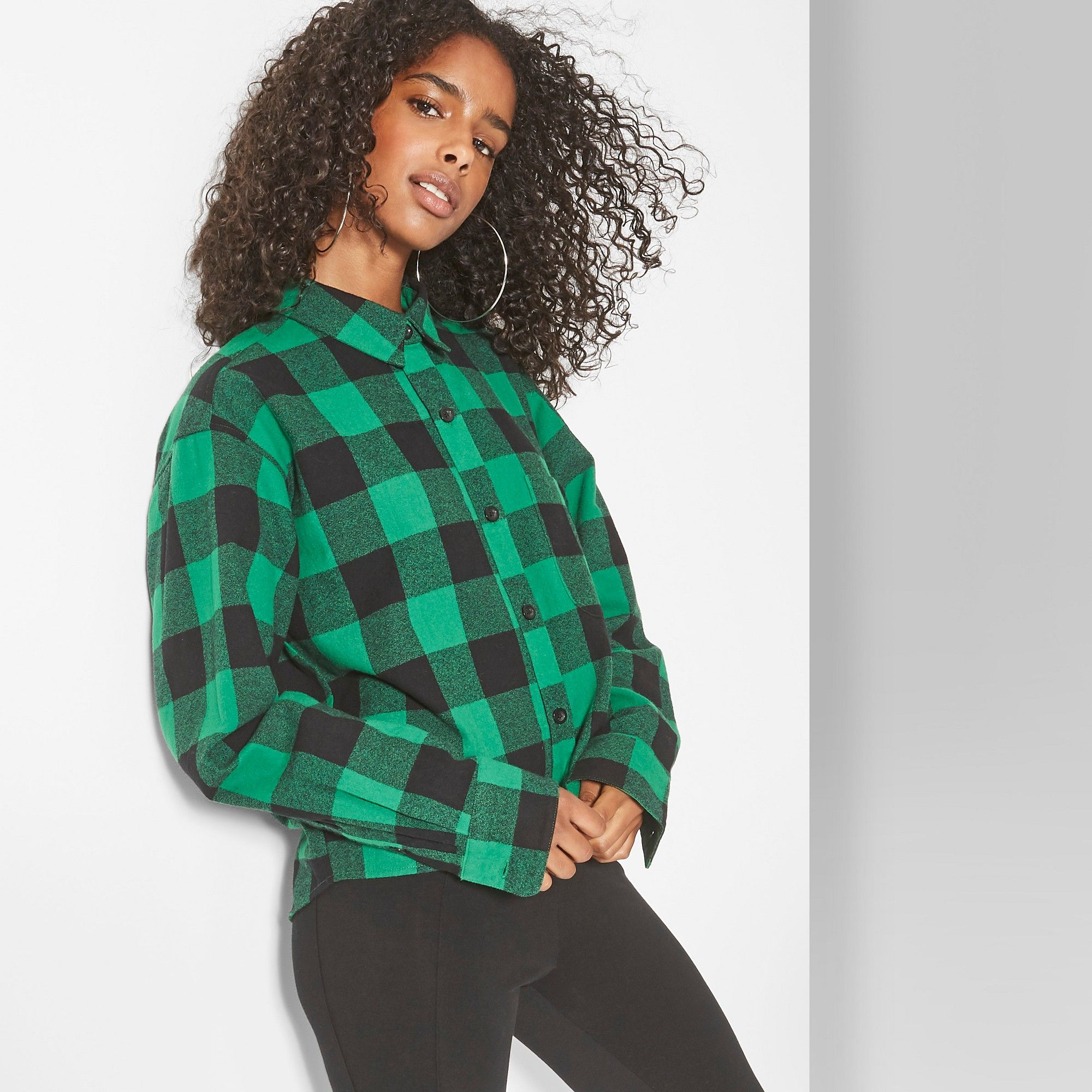 5b15d8d3 Women's Long Sleeve Cropped Plaid Button-Down - Wild Fable Forest Green Xxl