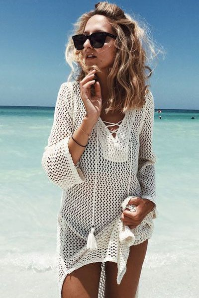 345310b9ff Buy Affordable White Lace-up Neck Long Fishnet Beach Cover-Ups Online Shop  Modeshe.com, Free Shipping On 60$