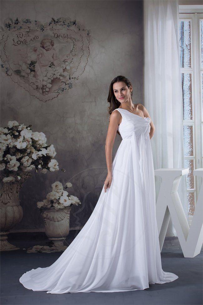A linie Mitte Rücken bodenlanges Brautkleid aus Chiffon ...