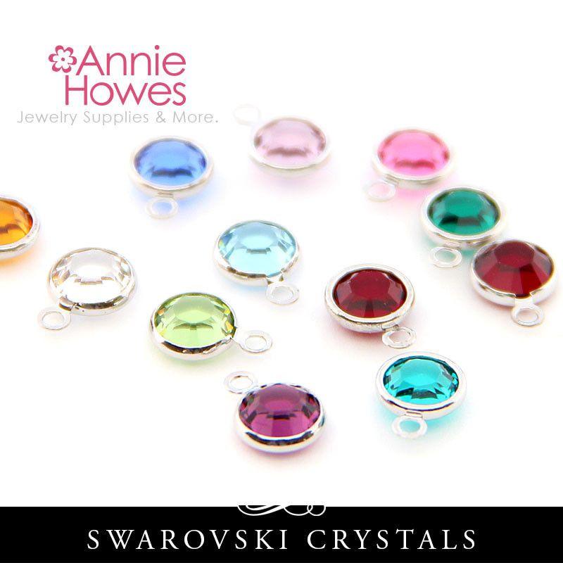 Swarovski Crystal Birthstone Charms Single Loop Birthstone Charms Swarovski Crystals Birthstones