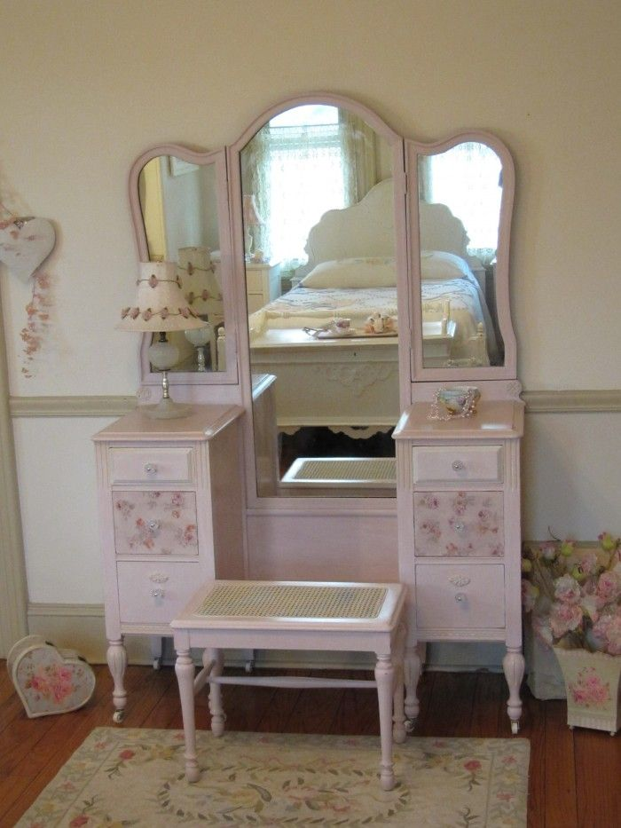 Beautiful Pink Antique Vanity with Tri-fold Mirror and Cane Bench - Beautiful Pink Antique Vanity With Tri-fold Mirror And Cane Bench