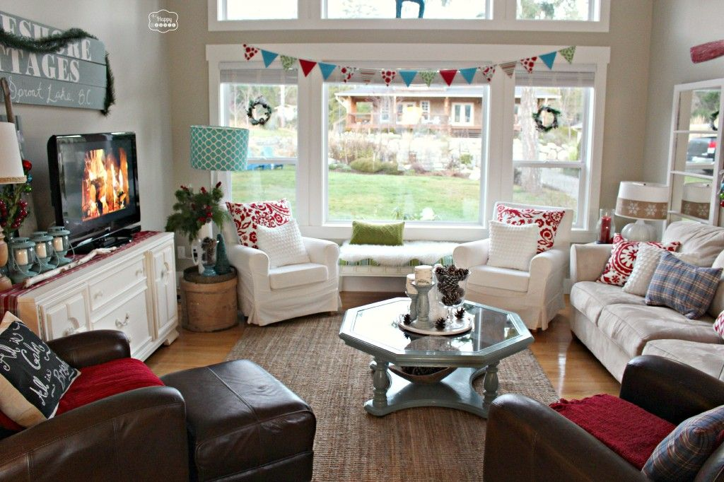 Christmas Party Tour Of Homes Christmas Living Room Window View At  Thehappyhousie Part 52