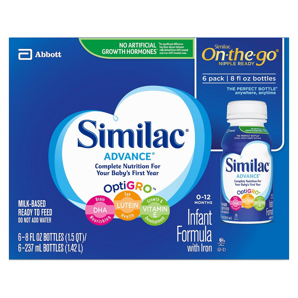 Similac Advance Infant Formula With Iron On The Go 8oz 6ct Complete Nutrition Bottle