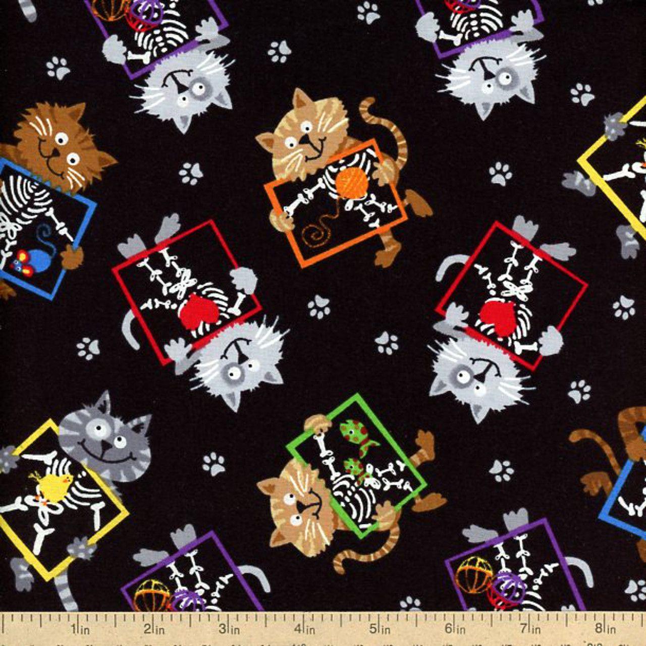 X Ray Skeleton Kitty Cat Bones Pediatric Hospital Scrubs Fabric Whimsical Cats  www.allegrofabrics.com