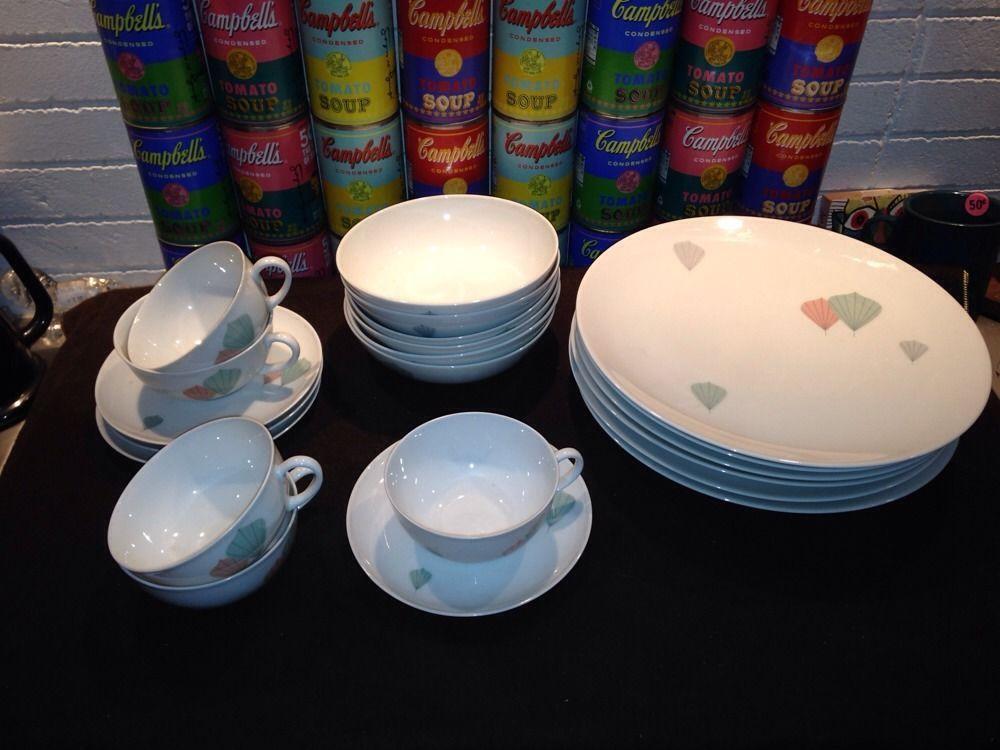 21 pcs vintage mid century modern Arzberg dinnerware - stylized pastel leaves & 21 pcs vintage mid century modern Arzberg dinnerware - stylized ...
