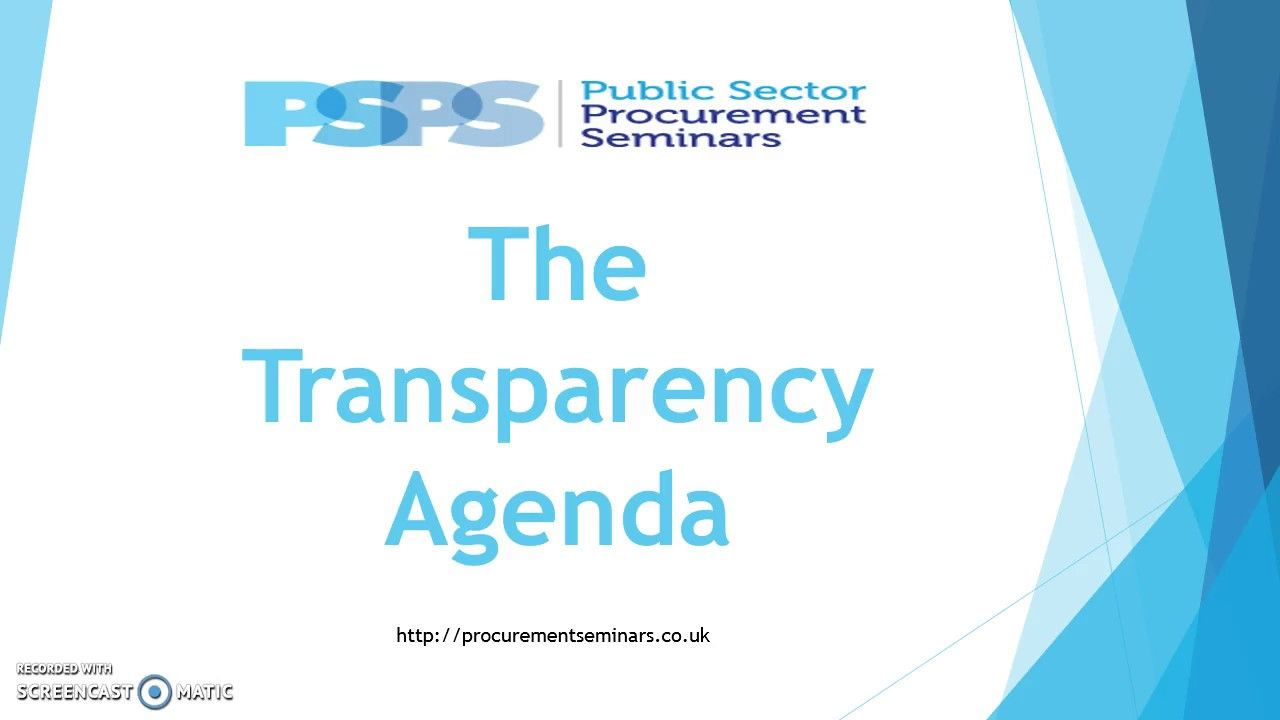 What is the The Transparency Agenda in Public Sector..