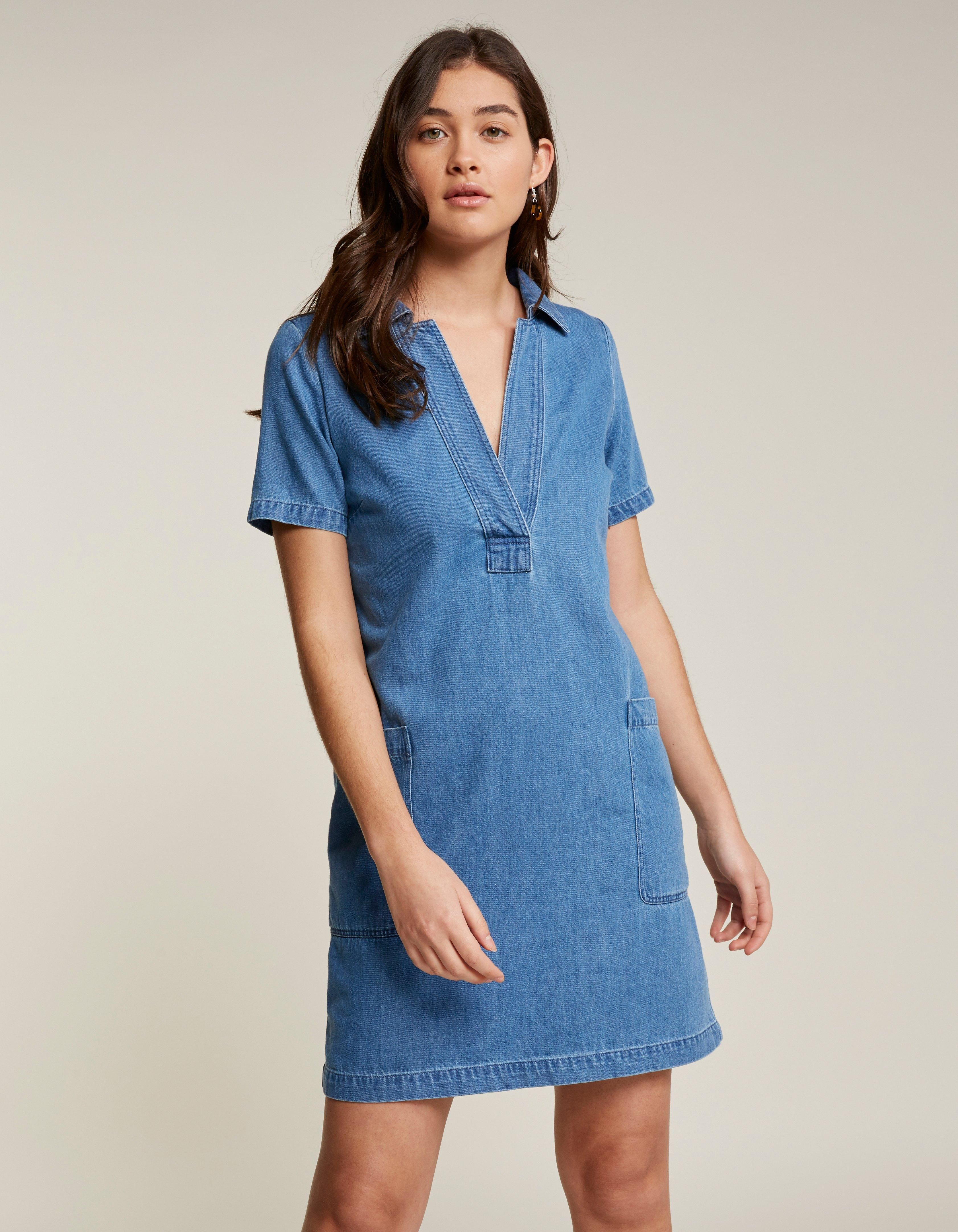 Women's short sleeve denim dress with v-neck | Womens denim dress ...