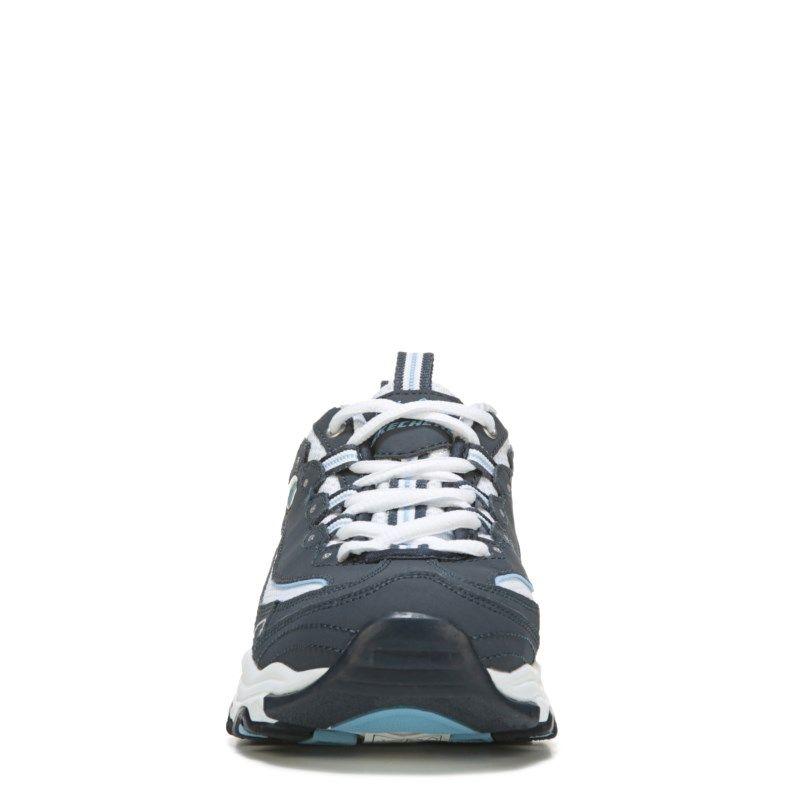 742084abd308 Skechers Women s D lites Biggest Fan Memory Foam Wide Sneakers (Navy White)  - 8.5 W
