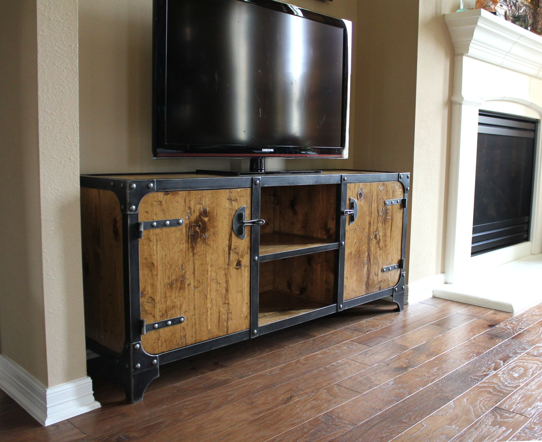 Media Console Constructed Of Steel, Wood, Rivets And