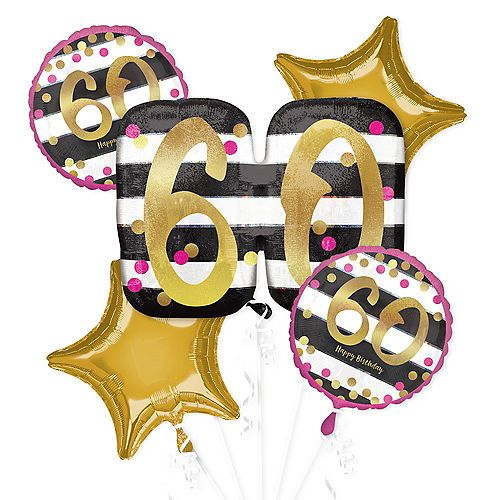 Pink Gold 60th Birthday Balloon Bouquet 5pc