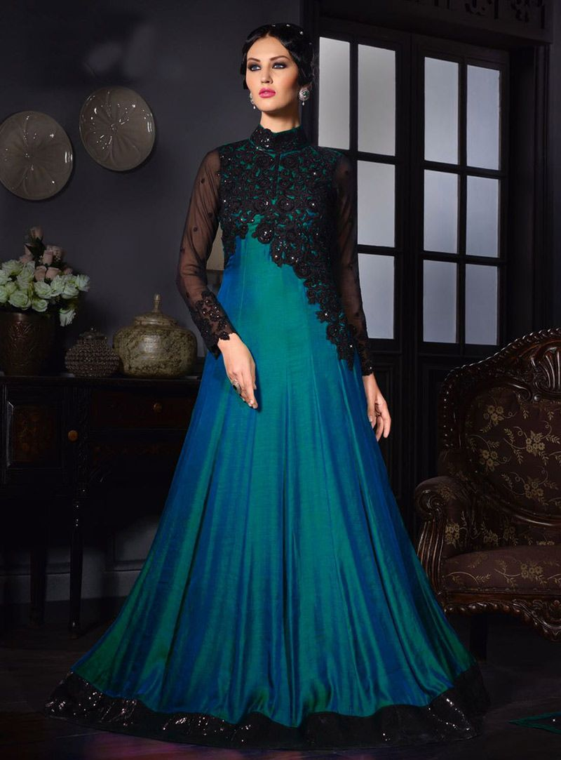 d7466ca65e99 Teal Satin Silk Party Wear Gown 80629 in 2019