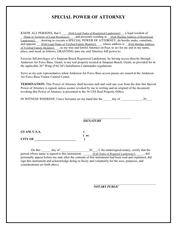 printable sample power of attorney template form - Sample Special Power Of Attorney Form