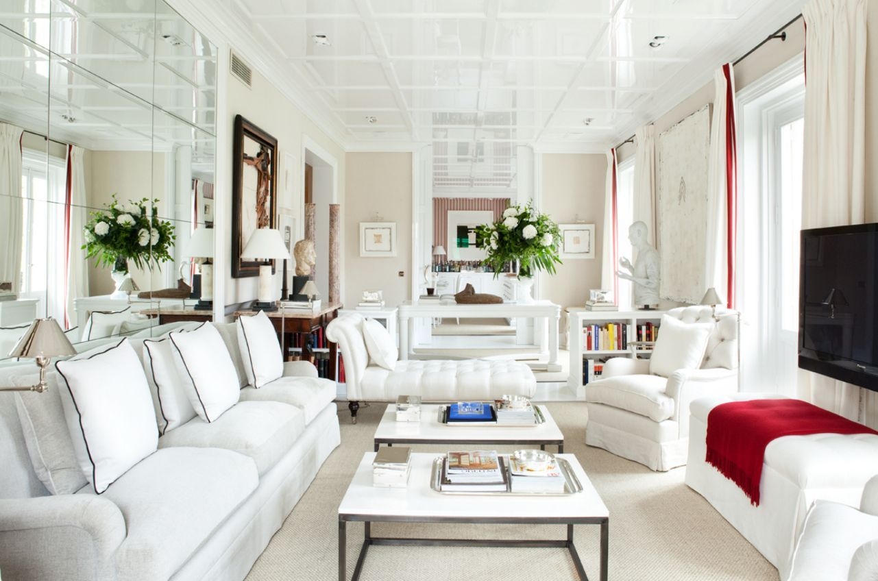 Long Narrow Or Skinny Living Room Ideas In White Nuance With Two