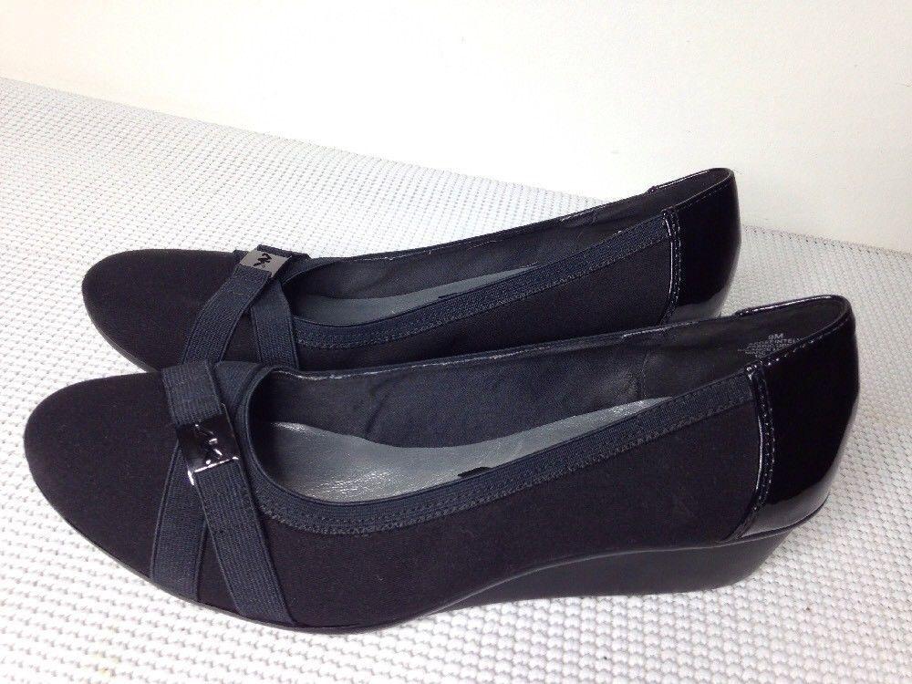 Anne Klein Sport Tamarow Women Black Wedge Heel sz 9 shoes