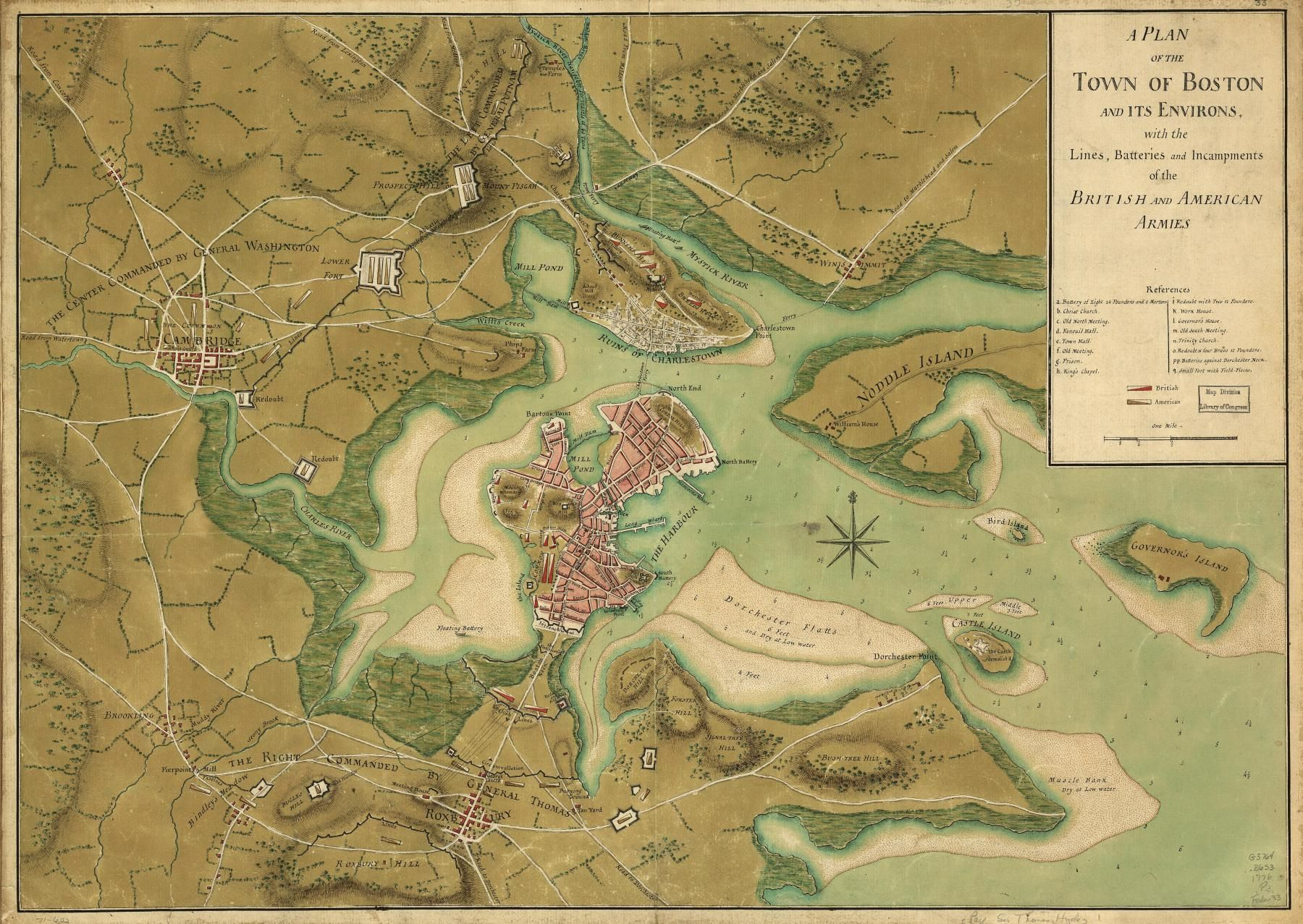 Great map of Boston from the siege of Boston   1775 1776     Great map of Boston from the siege of Boston   1775 1776