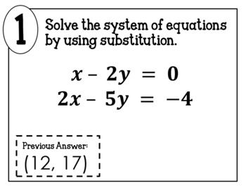 Solving Systems of Equations by Substitution Scavenger