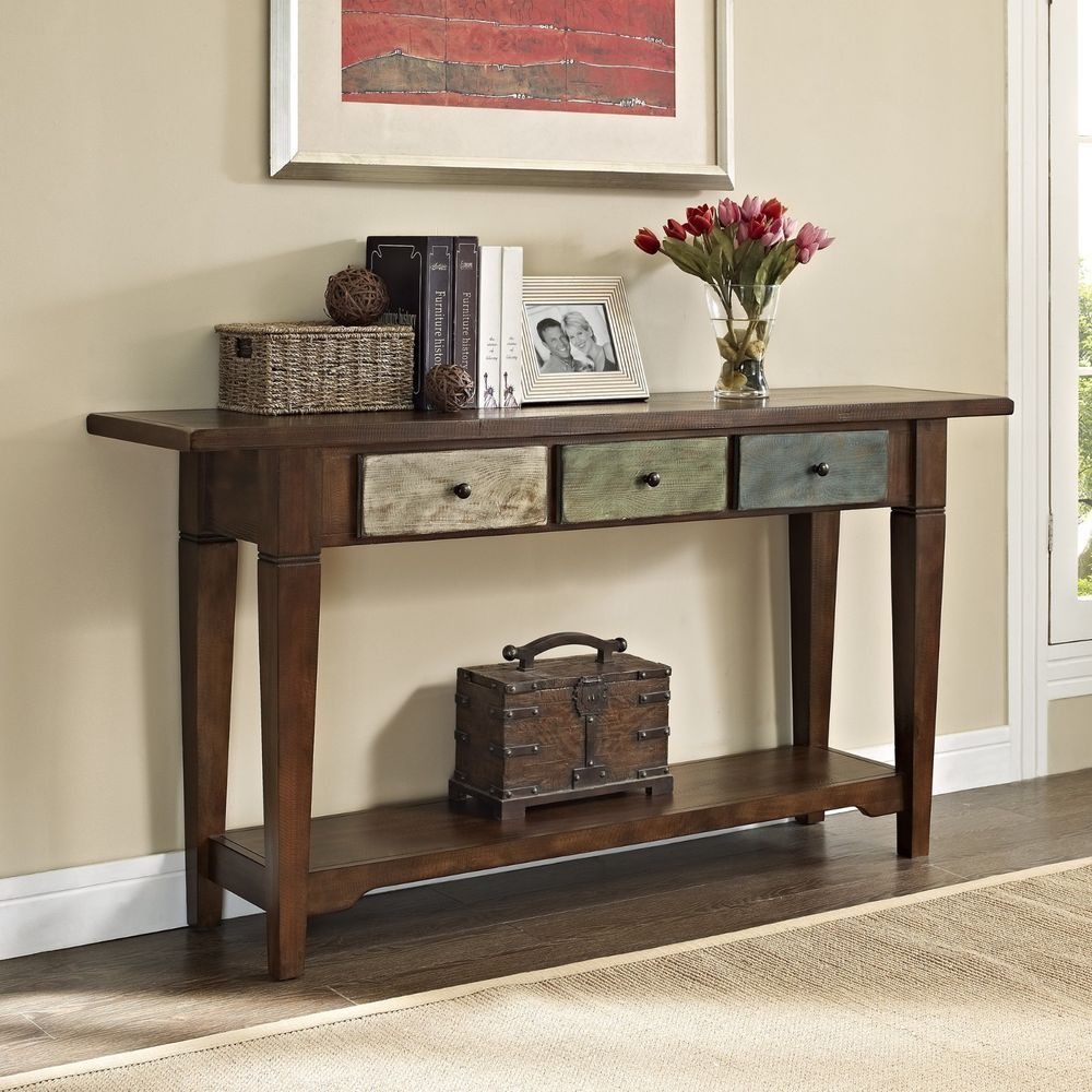 Traditional Rustic Style Weathered Finish Entry Hallway Accent Console Table  #Traditional
