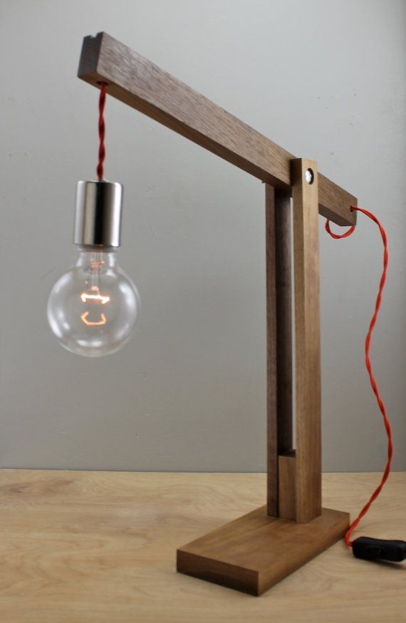 The Catapult Modern Wood Arm Lamp In Walnut Contemporary