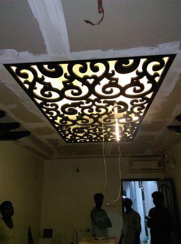 False Ceiling Design With Mdf Jali | Ceiling light design ...