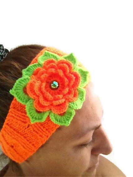 Orange  Hand Knitted Headband Ear Warmer with Crochet by NesrinArt, $15.00