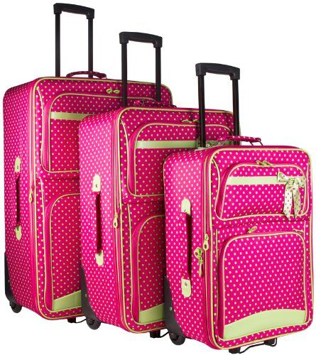Ever Moda Pink Green Polka Dots 3 Piece Expandable Luggage Set ...