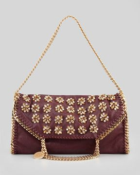 Stella McCartney Falabella Small Embroidered Fold-Over Tote Bag, Plum on shopstyle.com