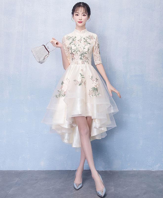 Vestido de fiesta con apliques de encaje de tul de champán único, vestido de noche #spitzeapplique