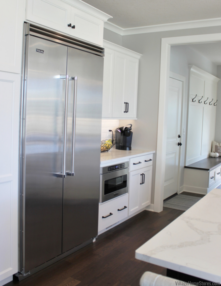 Ivory White Kitchen With Black Accents Built In Refrigerator