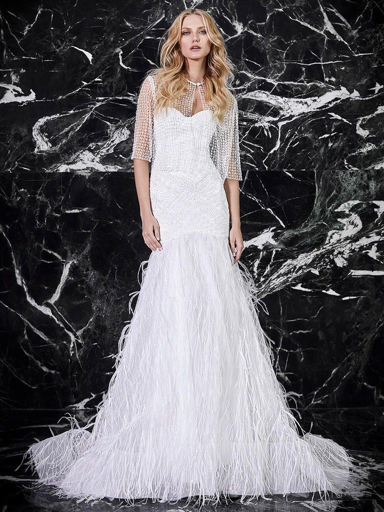 Gemütlich Feathered Wedding Dresses Zeitgenössisch - Hochzeit Kleid ...