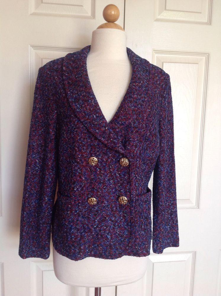 3f4182c83fd JOHN Red Blue Venetian Oceana Tweed Jacket Blazer Sz 12 NWT NEW  1595   StJohn  BasicJacket