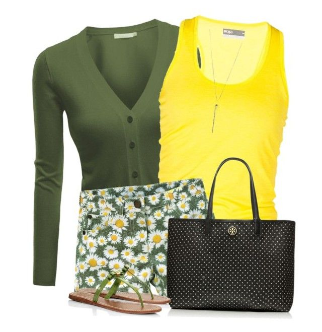 """""""Black, Yellow and Green"""" by daiscat ❤ liked on Polyvore featuring Doublju, Lija, Tory Burch and Forever 21"""