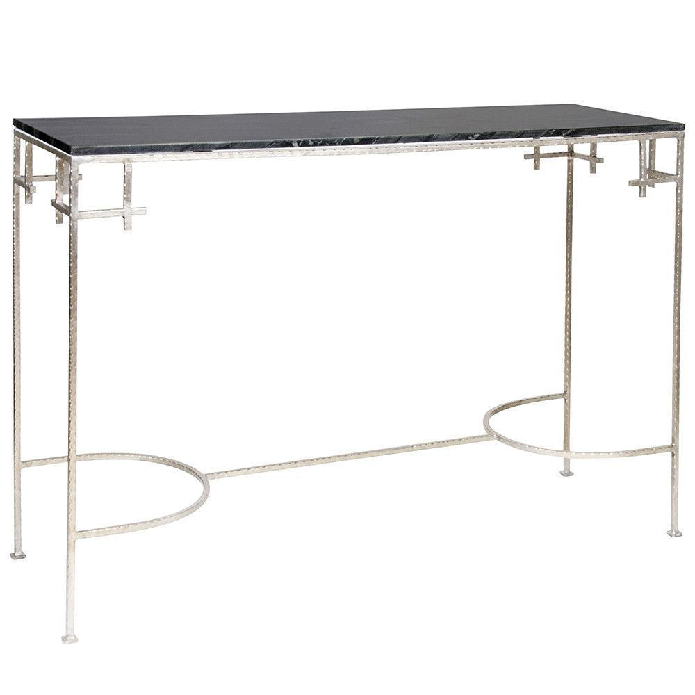 Hammered Silver Leaf Console Table Black Marble Top New home