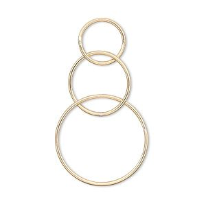 100 Gold Plated Brass 12x5mm Half Round Link Connectors with Loops