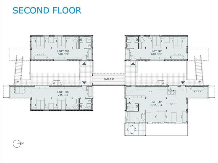 Fotograf as y planos de box office edificio con 12 for Diseno de oficinas con contenedores