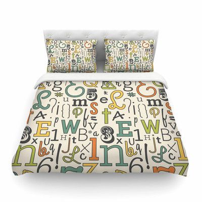 East Urban Home ABC by Busy Bree Featherweight Duvet Cover Size: Full/Queen