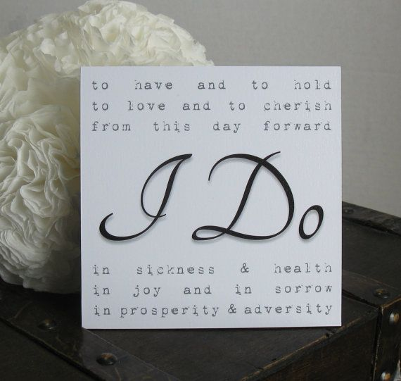 Traditional Wedding Vows Sign, Small Sign, Wedding Vows