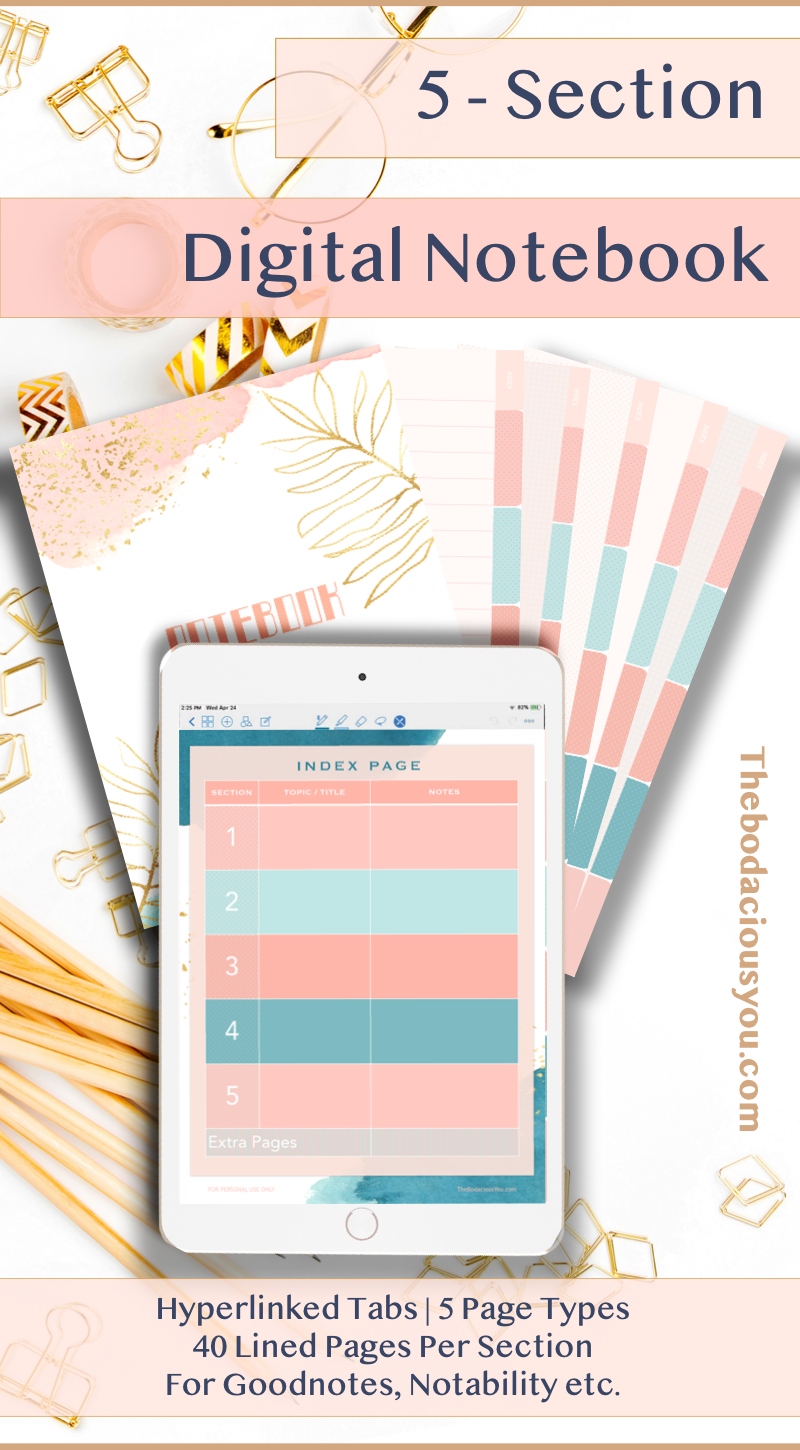 Rose Gold Digital Notebook HyperLinked 5 Subject