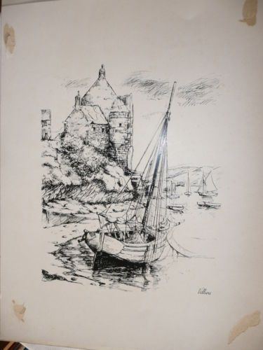 Reproduction dessin bord de mer bateau voilier manoir mer - Dessin bord de mer ...