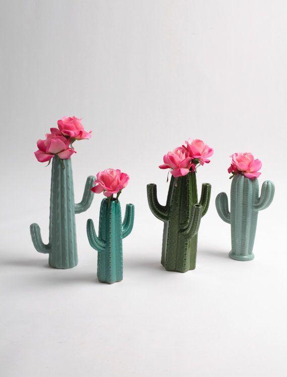 Cactus Vase - Small Seafoam Green Cactus Bud Vase - White Faux ...